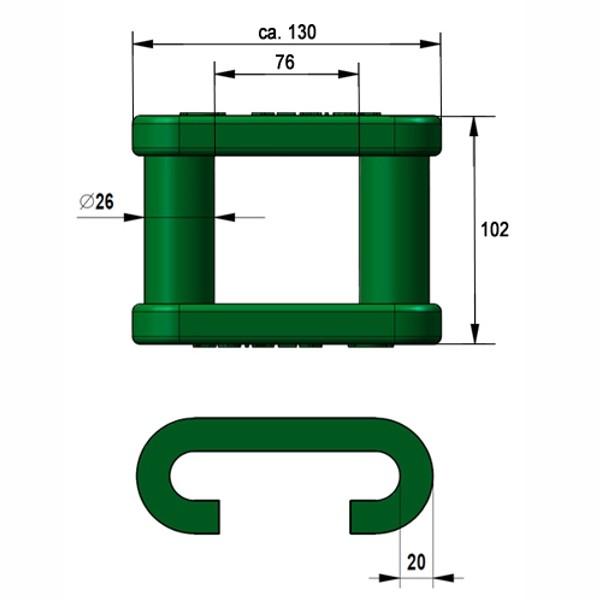 Spannschloss für Plattenband kurz (130mm)
