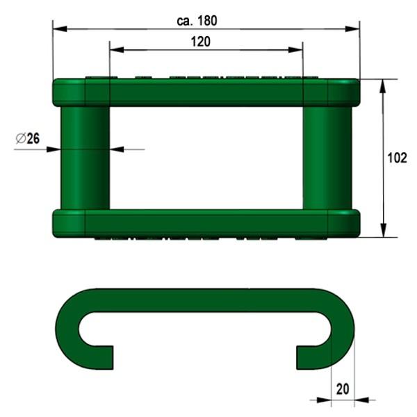 Spannschloss für Plattenband lang (180mm)