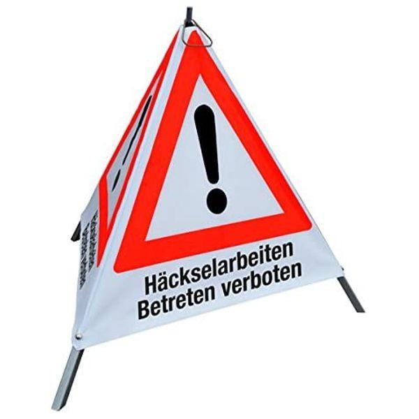 """Forst Warnpyramide / Faltsignal """"Häckselarbeiten - Betreten Verboten"""""""