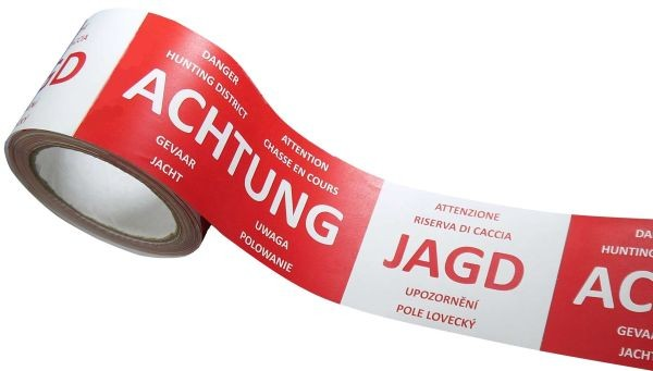 "Absperrband ""ACHTUNG JAGD"" - 7-Sprachig"