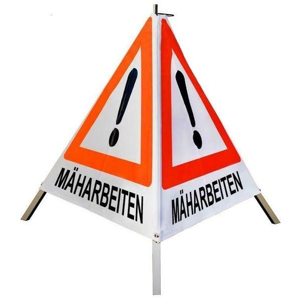 """Forst Warnpyramide / Faltsignal """"Mäharbeiten"""""""